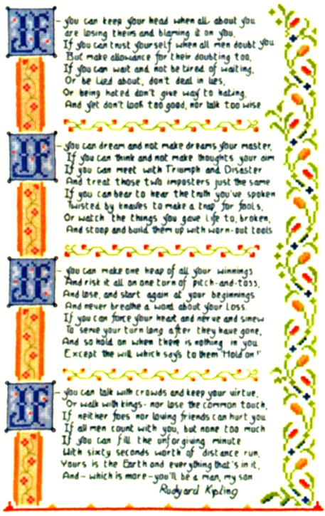 image relating to If by Rudyard Kipling Printable called IF through Rudyard Kipling Blau Stern Schwarz Schlonge