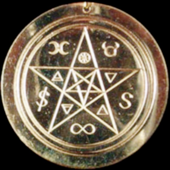 witches pentagram brass