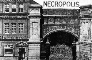 Entrance to the London Necropolis Company's cemetery station c1890.  Source unknown.