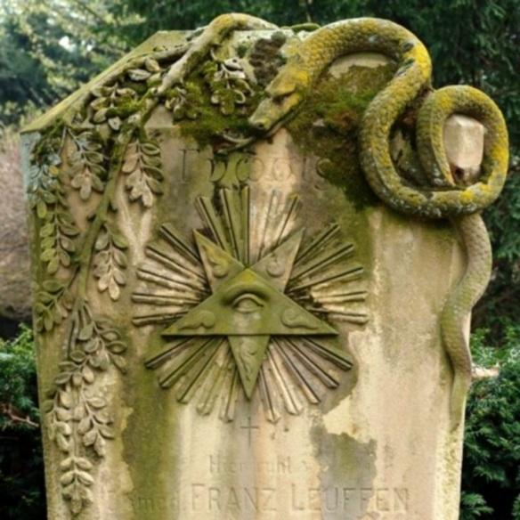 Inverse Pentagram Snake Headstone