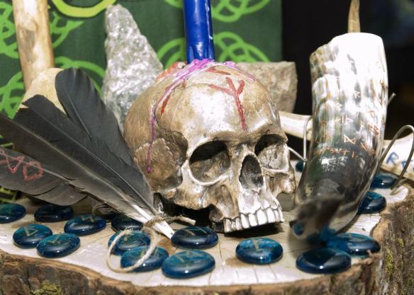 skull and runes